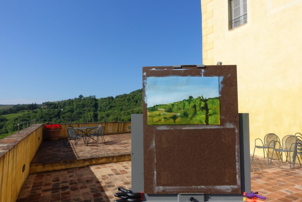 Painting demonstration in the morning on the terrace of Il Chiostro at San Fedele