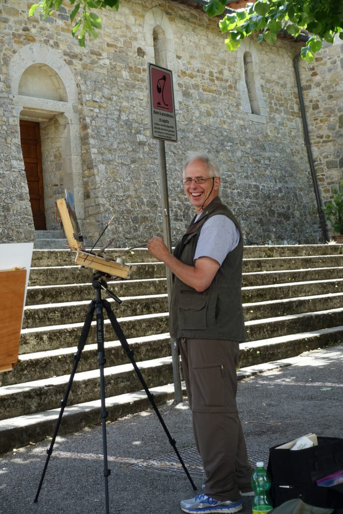 Frank Painting outside of the Rocca at Castellina