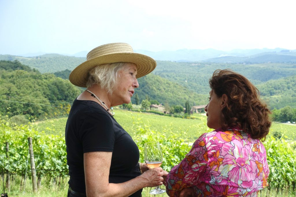 Suzanne and Patricia discussing the Sangiovese grapes.