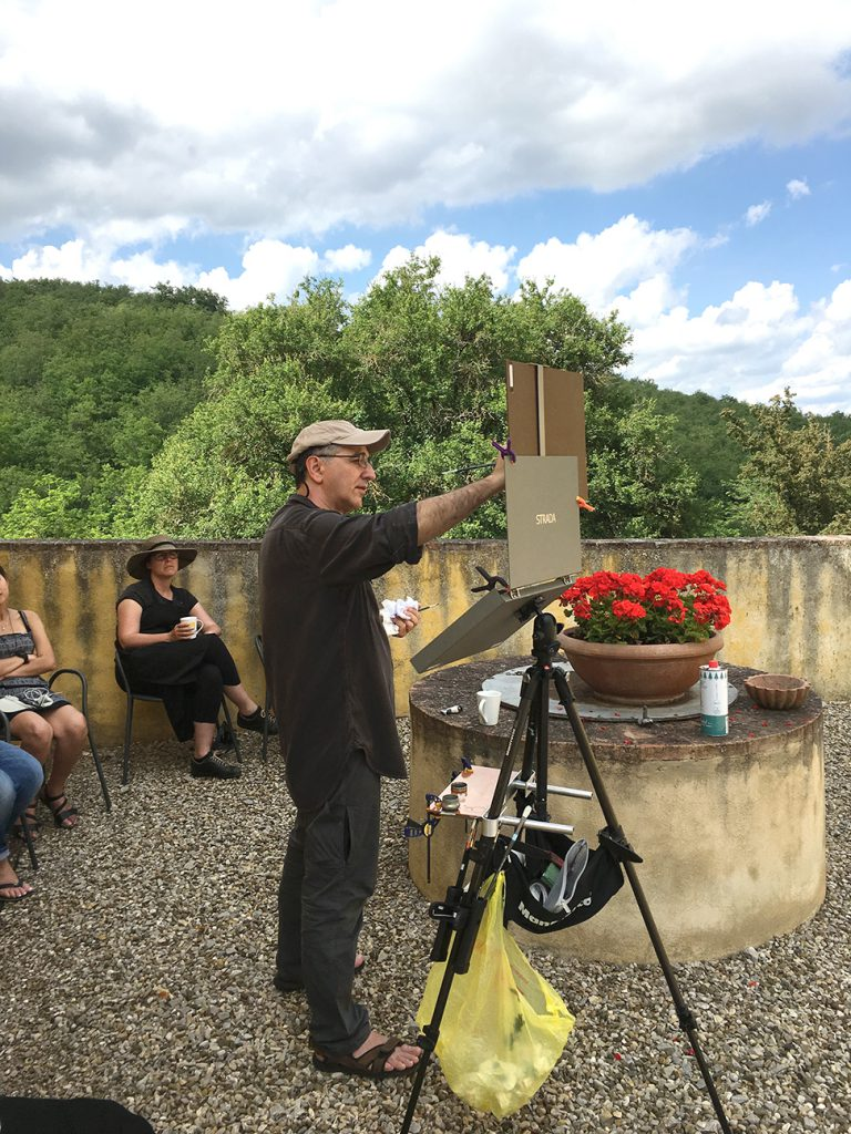 Costa demonstrating plein air techniques.