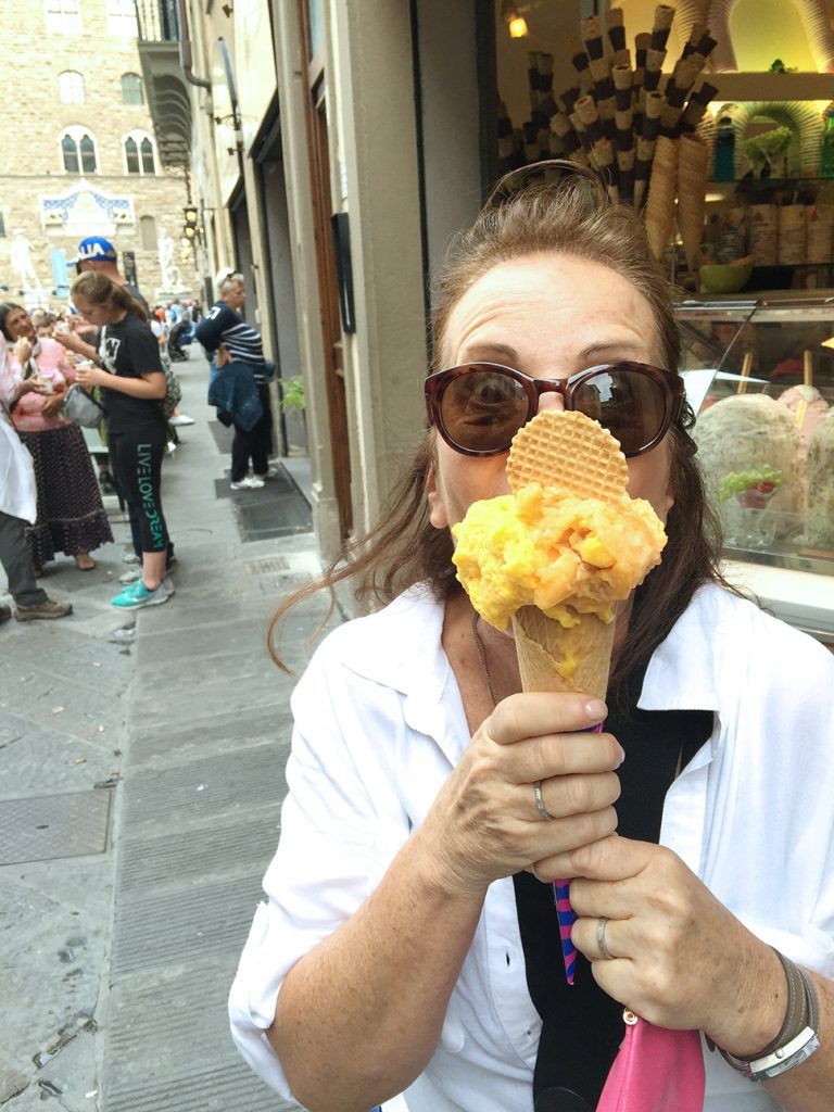 Robin enjoys one last gelato.