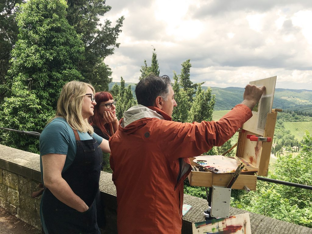 Costa teaching a final lesson in plein air painting on the Tuscany trip.