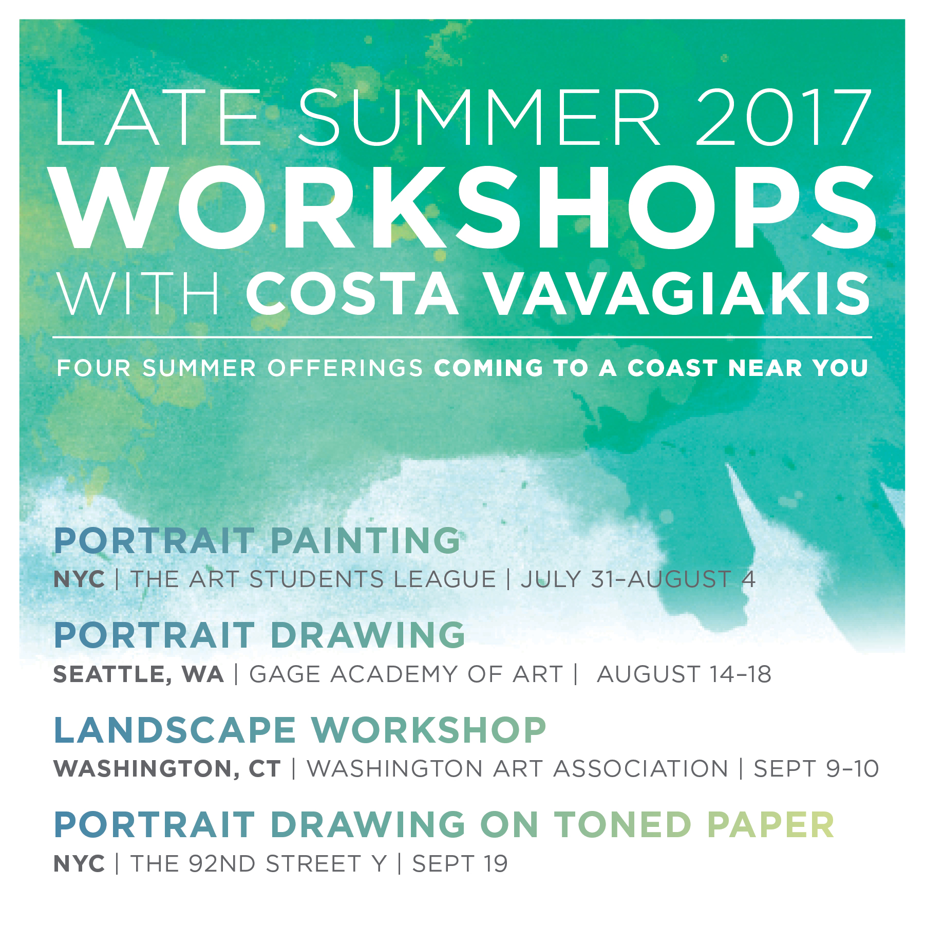 Late Summer 2017 Workshops